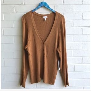 NWT Leith Henley Ribbed Knit Top in Tan Dale